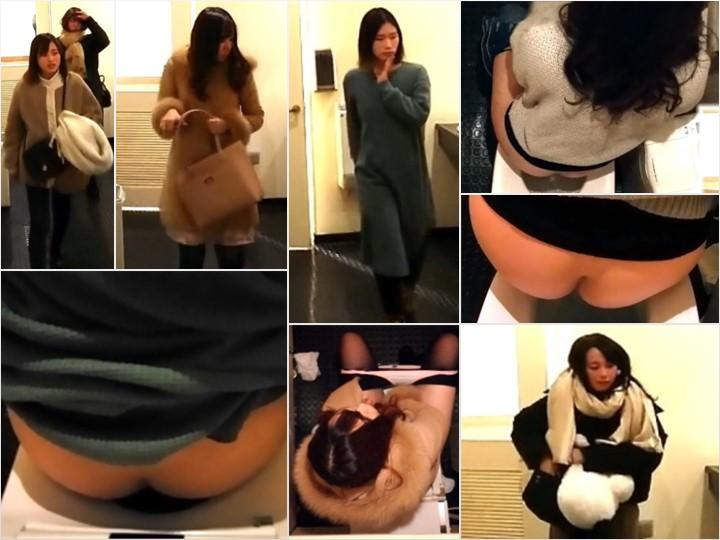 Nude Pussy Girls on the Toilet 女性の恥ずかしい正面和式トイレ